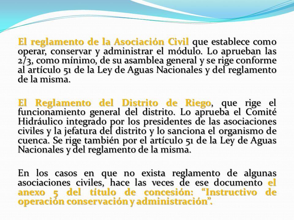 El reglamento de la Asociación Civil que establece como operar, conservar y administrar el módulo. Lo aprueban las 2/3, como mínimo, de su asamblea ge