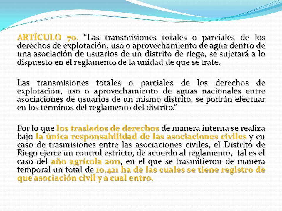 ARTÍCULO 70. Las transmisiones totales o parciales de los derechos de explotación, uso o aprovechamiento de agua dentro de una asociación de usuarios