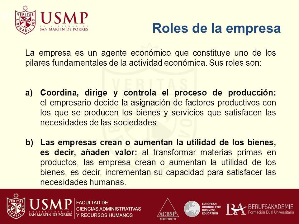 Roles de la empresa c)Crean empleo y generan riqueza: una parte fundamental de la renta y la riqueza de las familias se obtiene en la empresa.