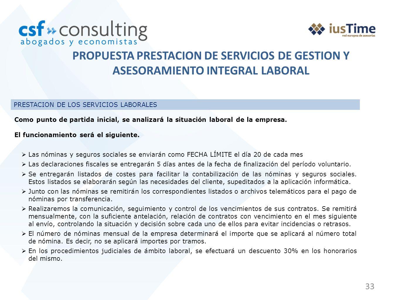 33 PRESTACION DE LOS SERVICIOS LABORALES Como punto de partida inicial, se analizará la situación laboral de la empresa. El funcionamiento será el sig