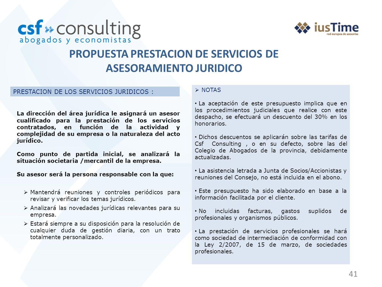 41 PRESTACION DE LOS SERVICIOS JURIDICOS : La dirección del área jurídica le asignará un asesor cualificado para la prestación de los servicios contra