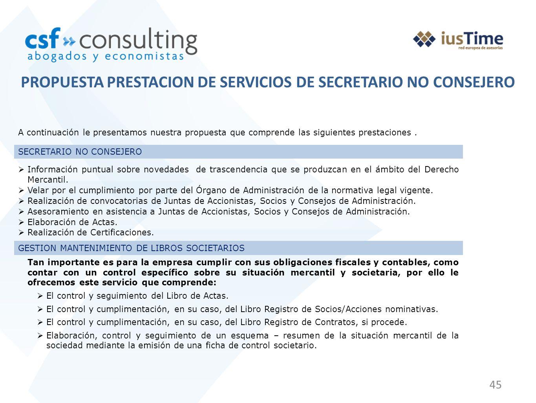 45 PROPUESTA PRESTACION DE SERVICIOS DE SECRETARIO NO CONSEJERO A continuación le presentamos nuestra propuesta que comprende las siguientes prestaciones.