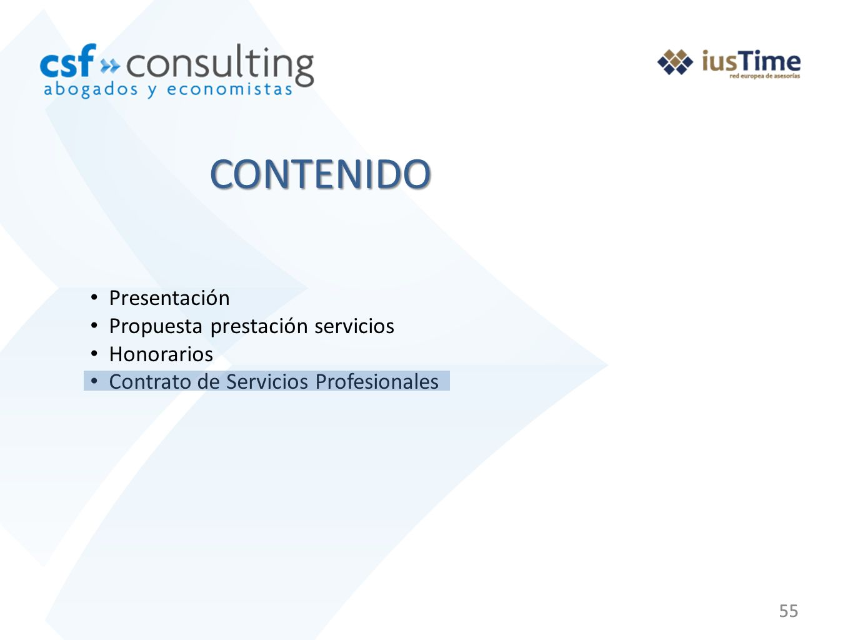 55 Presentación Propuesta prestación servicios Honorarios Contrato de Servicios Profesionales CONTENIDO