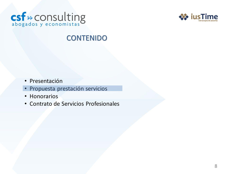 88 Presentación Propuesta prestación servicios Honorarios Contrato de Servicios Profesionales CONTENIDO