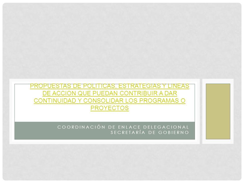 COORDINACIÓN DE ENLACE DELEGACIONAL SECRETARÍA DE GOBIERNO PROPUESTAS DE POLITICAS, ESTRATEGIAS Y LINEAS DE ACCION QUE PUEDAN CONTRIBUIR A DAR CONTINUIDAD Y CONSOLIDAR LOS PROGRAMAS O PROYECTOS