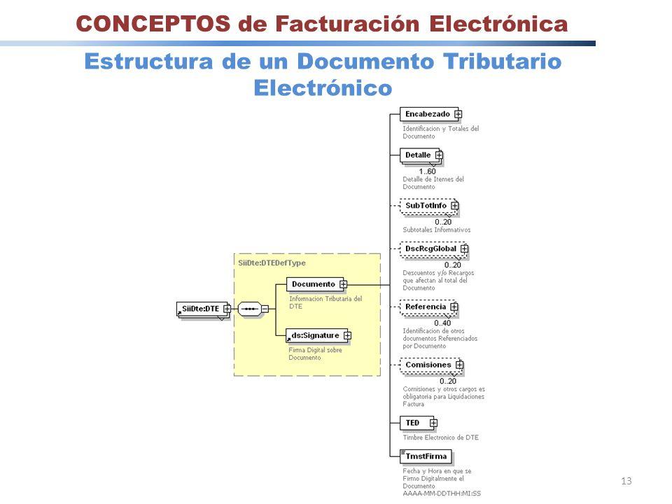 13 CONCEPTOS de Facturación Electrónica Estructura de un Documento Tributario Electrónico