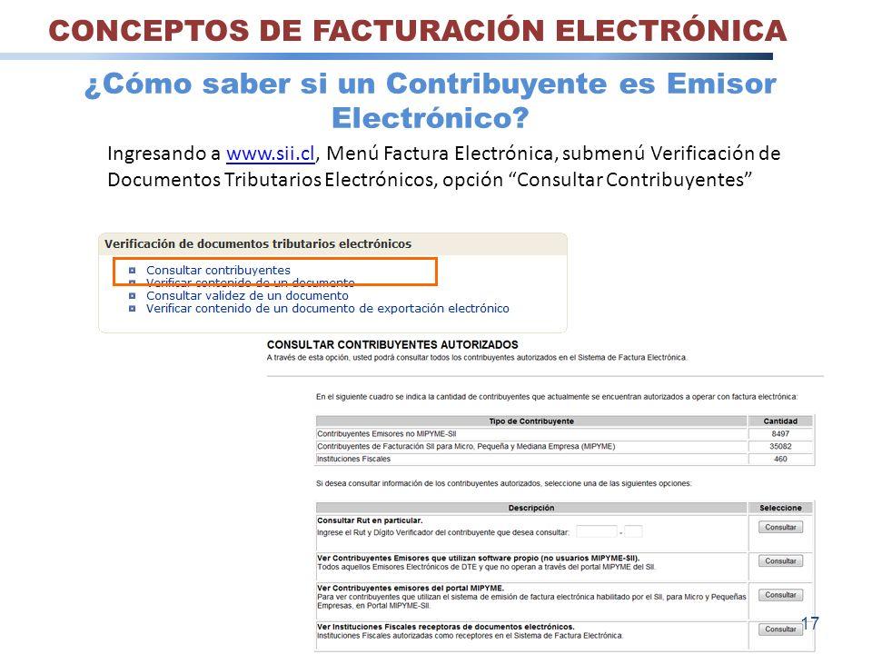 Ingresando a www.sii.cl, Menú Factura Electrónica, submenú Verificación de Documentos Tributarios Electrónicos, opción Consultar Contribuyenteswww.sii