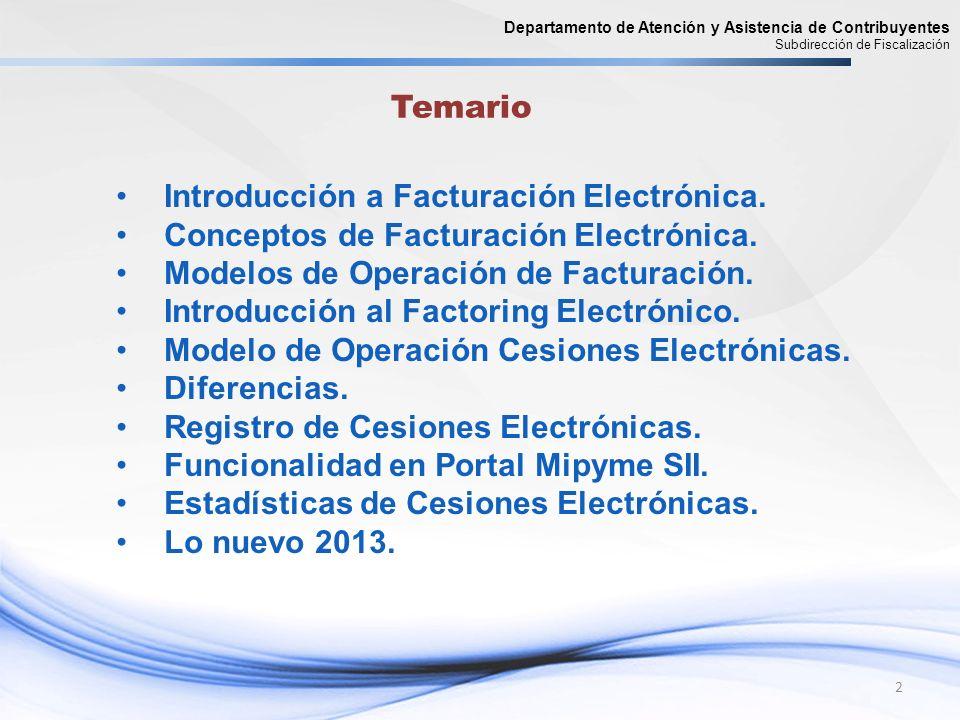 2 Departamento de Atención y Asistencia de Contribuyentes Subdirección de Fiscalización Introducción a Facturación Electrónica. Conceptos de Facturaci