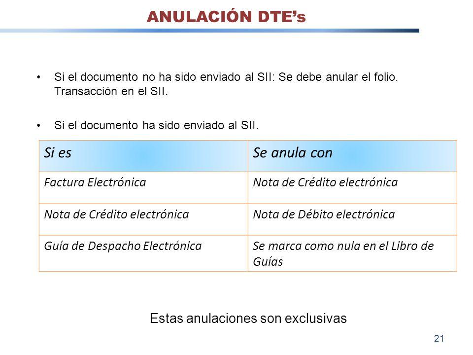 Si el documento no ha sido enviado al SII: Se debe anular el folio. Transacción en el SII. Si el documento ha sido enviado al SII. Si esSe anula con F