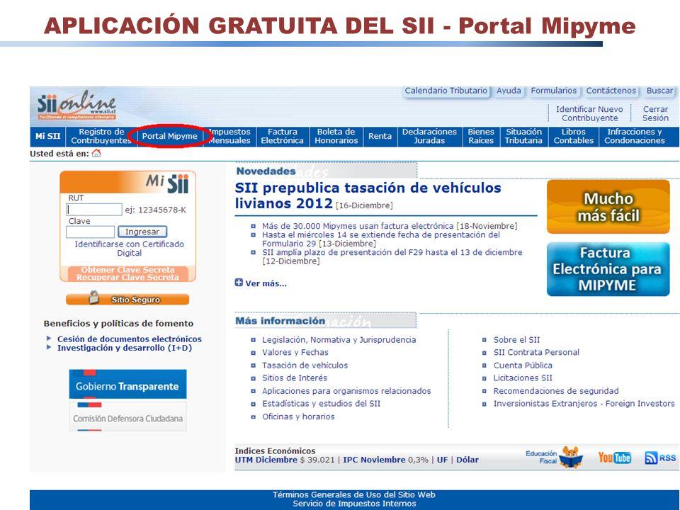 27 APLICACIÓN GRATUITA DEL SII - Portal Mipyme
