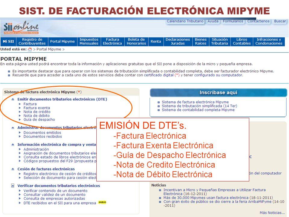 30 SIST. DE FACTURACIÓN ELECTRÓNICA MIPYME EMISIÓN DE DTEs. -Factura Electrónica -Factura Exenta Electrónica -Guía de Despacho Electrónica -Nota de Cr