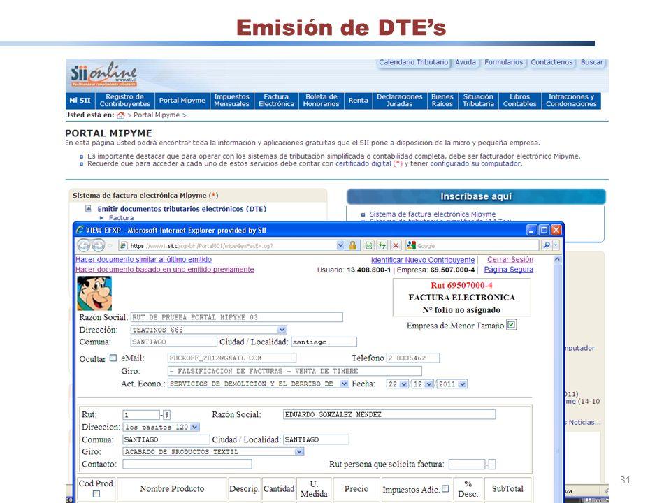 Emisión de DTEs 31