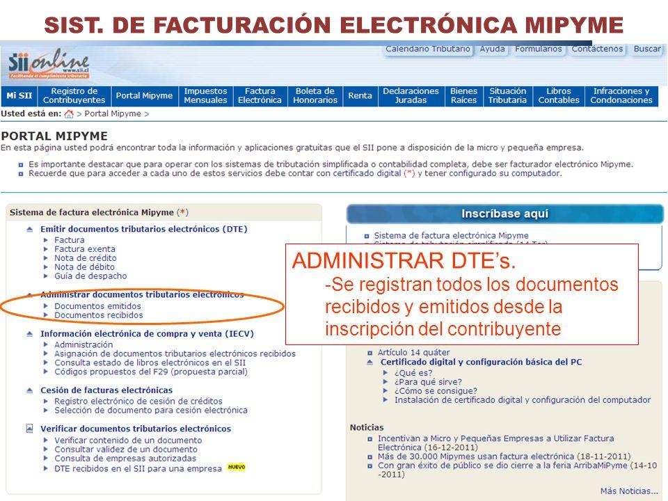 33 SIST. DE FACTURACIÓN ELECTRÓNICA MIPYME ADMINISTRAR DTEs. -Se registran todos los documentos recibidos y emitidos desde la inscripción del contribu