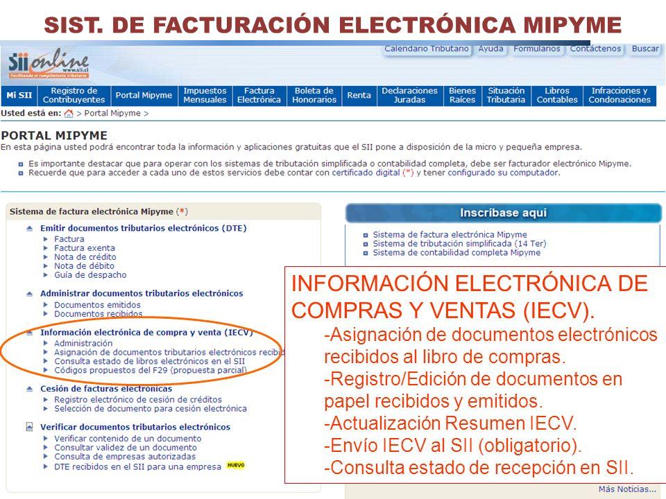 34 SIST. DE FACTURACIÓN ELECTRÓNICA MIPYME INFORMACIÓN ELECTRÓNICA DE COMPRAS Y VENTAS (IECV). -Asignación de documentos electrónicos recibidos al lib
