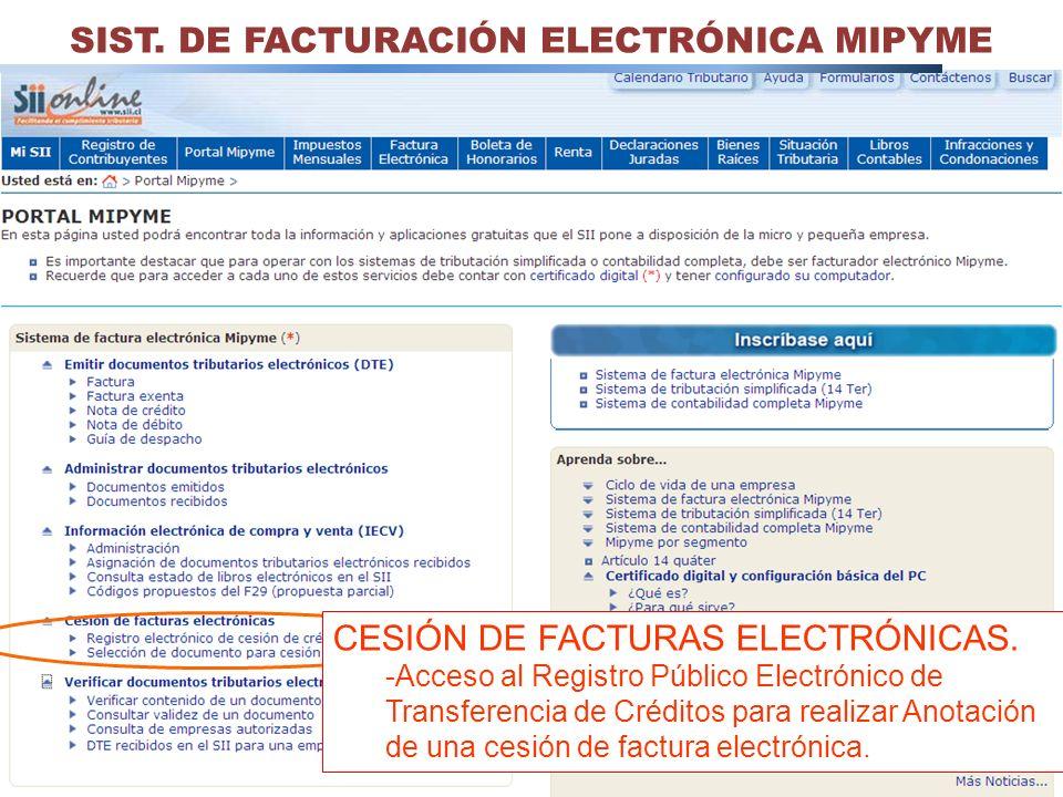35 SIST. DE FACTURACIÓN ELECTRÓNICA MIPYME CESIÓN DE FACTURAS ELECTRÓNICAS. -Acceso al Registro Público Electrónico de Transferencia de Créditos para
