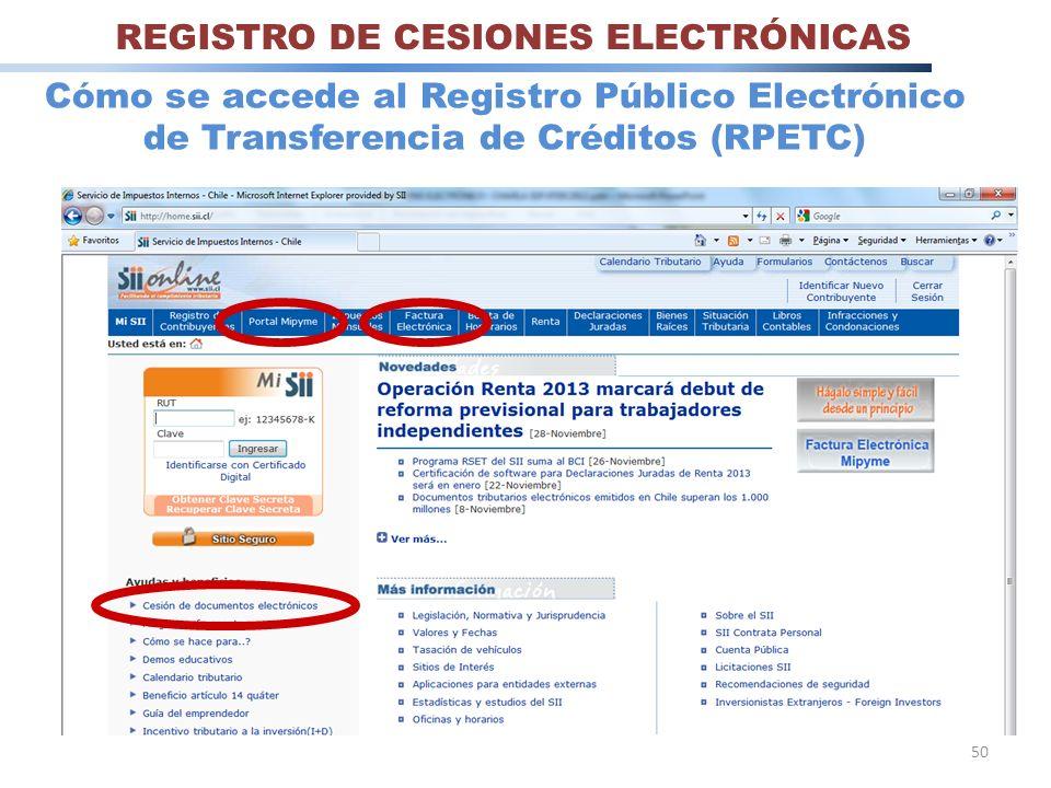 50 Cómo se accede al Registro Público Electrónico de Transferencia de Créditos (RPETC) REGISTRO DE CESIONES ELECTRÓNICAS