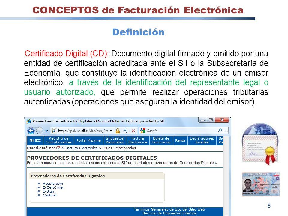 Certificado Digital (CD): Documento digital firmado y emitido por una entidad de certificación acreditada ante el SII o la Subsecretaría de Economía,