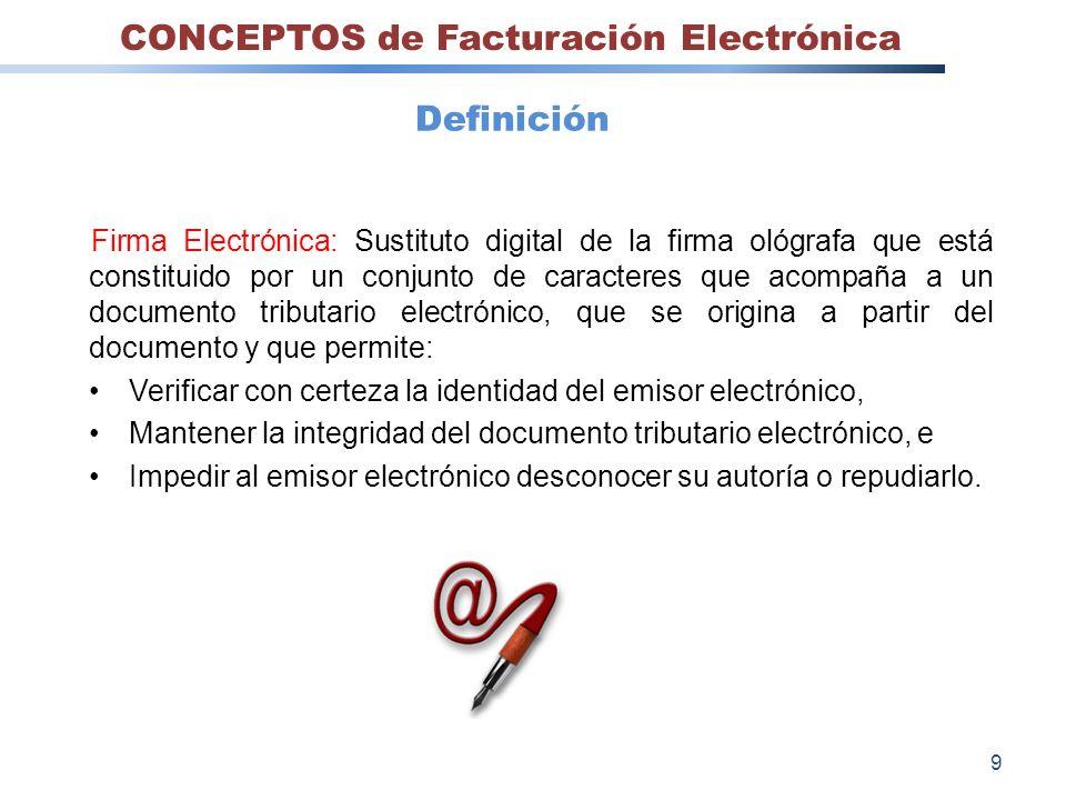 Firma Electrónica: Sustituto digital de la firma ológrafa que está constituido por un conjunto de caracteres que acompaña a un documento tributario el