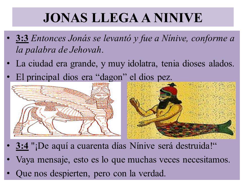 JONAS LLEGA A NINIVE 3:3 Entonces Jonás se levantó y fue a Nínive, conforme a la palabra de Jehovah. La ciudad era grande, y muy idolatra, tenia diose