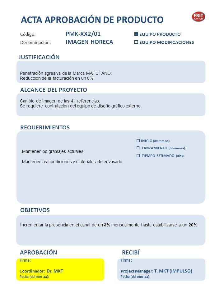 Fase 04 LANZAMIENTO Definición de campaña Plan de Comunicación Plan de ventas Firma: Coordinador: Fecha: observaciones Fase 03 DISEÑO Y ETIQUETAJE Desarrollo de propuestas Técnico Calidad (ficha etiqueta) Firma: Coordinador: Fecha: observaciones Fase 02 PROTOTIPAJE y ESTUDIO INDUSTRIAL Homologación, relación MATERIA PRIMA-PROVEEDOR Realización de prototipos Fabricación de muestras Análisis microbiológicos y estudio de vida comercial Presentación: cliente interna Plan de producción Firma: Coordinador: Fecha: observaciones Fase 01 DESARROLLO DE PRODUCTO Definición de recursos Definición de producto Desarrollo Técnico Elección de proveedores relación MATERIA PRIMA-PROVEEDOR Firma: Coordinador: Fecha: observaciones