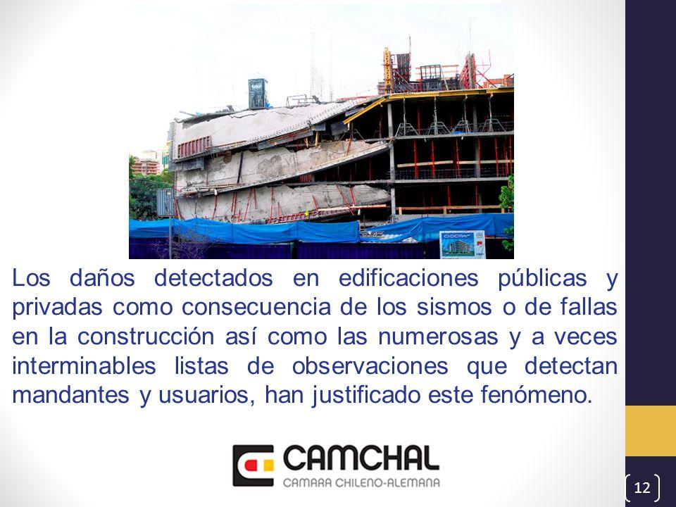 Los daños detectados en edificaciones públicas y privadas como consecuencia de los sismos o de fallas en la construcción así como las numerosas y a ve