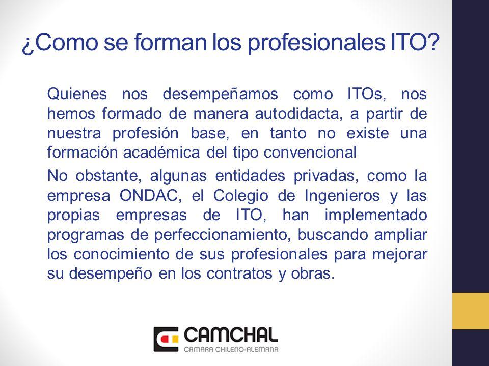 ¿Como se forman los profesionales ITO? Quienes nos desempeñamos como ITOs, nos hemos formado de manera autodidacta, a partir de nuestra profesión base