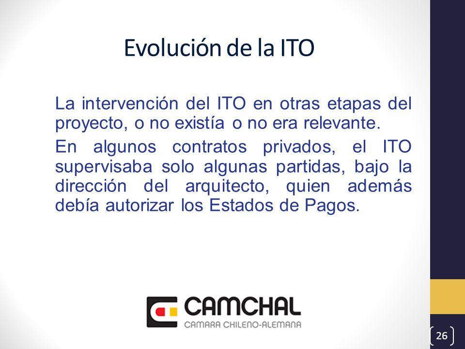 Evolución de la ITO La intervención del ITO en otras etapas del proyecto, o no existía o no era relevante. En algunos contratos privados, el ITO super