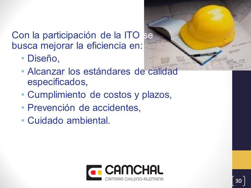 Con la participación de la ITO se busca mejorar la eficiencia en: Diseño, Alcanzar los estándares de calidad especificados, Cumplimiento de costos y p
