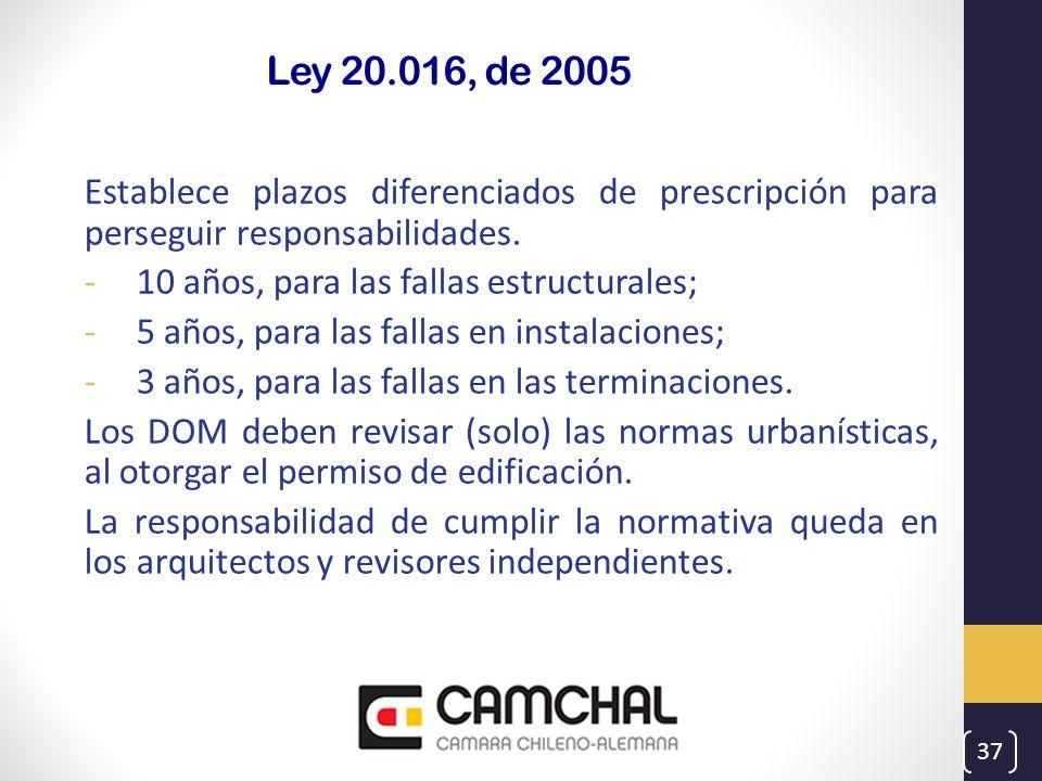 Ley 20.016, de 2005 Establece plazos diferenciados de prescripción para perseguir responsabilidades. -10 años, para las fallas estructurales; -5 años,