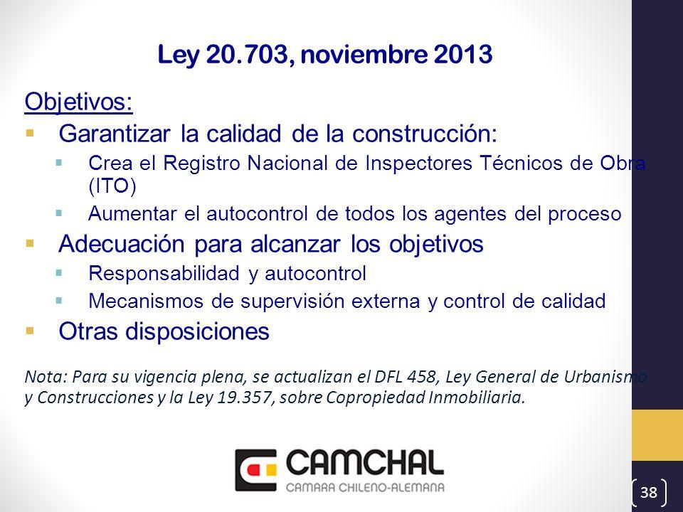 Ley 20.703, noviembre 2013 Objetivos: Garantizar la calidad de la construcción: Crea el Registro Nacional de Inspectores Técnicos de Obra (ITO) Aument