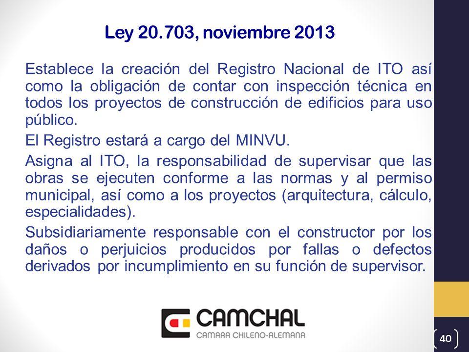 Ley 20.703, noviembre 2013 Establece la creación del Registro Nacional de ITO así como la obligación de contar con inspección técnica en todos los pro