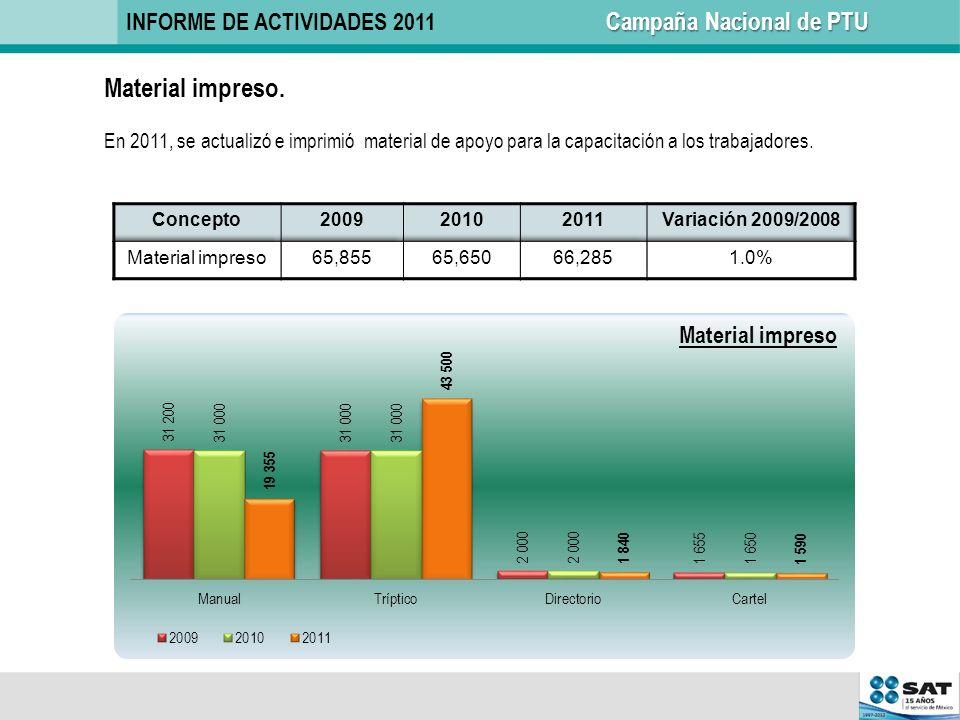 Material impreso. En 2011, se actualizó e imprimió material de apoyo para la capacitación a los trabajadores. Campaña Nacional de PTU INFORME DE ACTIV