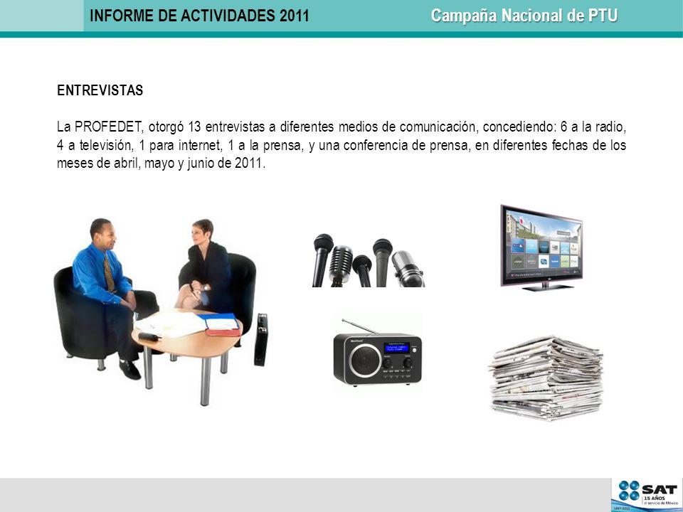ENTREVISTAS La PROFEDET, otorgó 13 entrevistas a diferentes medios de comunicación, concediendo: 6 a la radio, 4 a televisión, 1 para internet, 1 a la