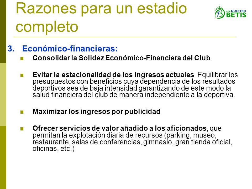Razones para un estadio completo 3.Económico-financieras: Consolidar la Solidez Económico-Financiera del Club. Evitar la estacionalidad de los ingreso