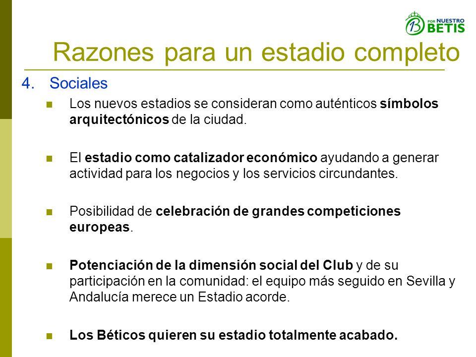 Razones para un estadio completo 4.Sociales Los nuevos estadios se consideran como auténticos símbolos arquitectónicos de la ciudad. El estadio como c