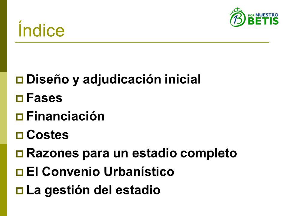 Índice Diseño y adjudicación inicial Fases Financiación Costes Razones para un estadio completo El Convenio Urbanístico La gestión del estadio
