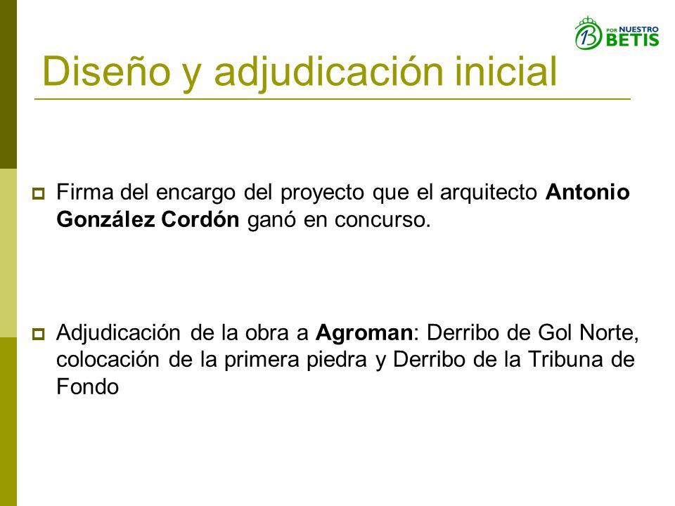 Diseño y adjudicación inicial Firma del encargo del proyecto que el arquitecto Antonio González Cordón ganó en concurso. Adjudicación de la obra a Agr
