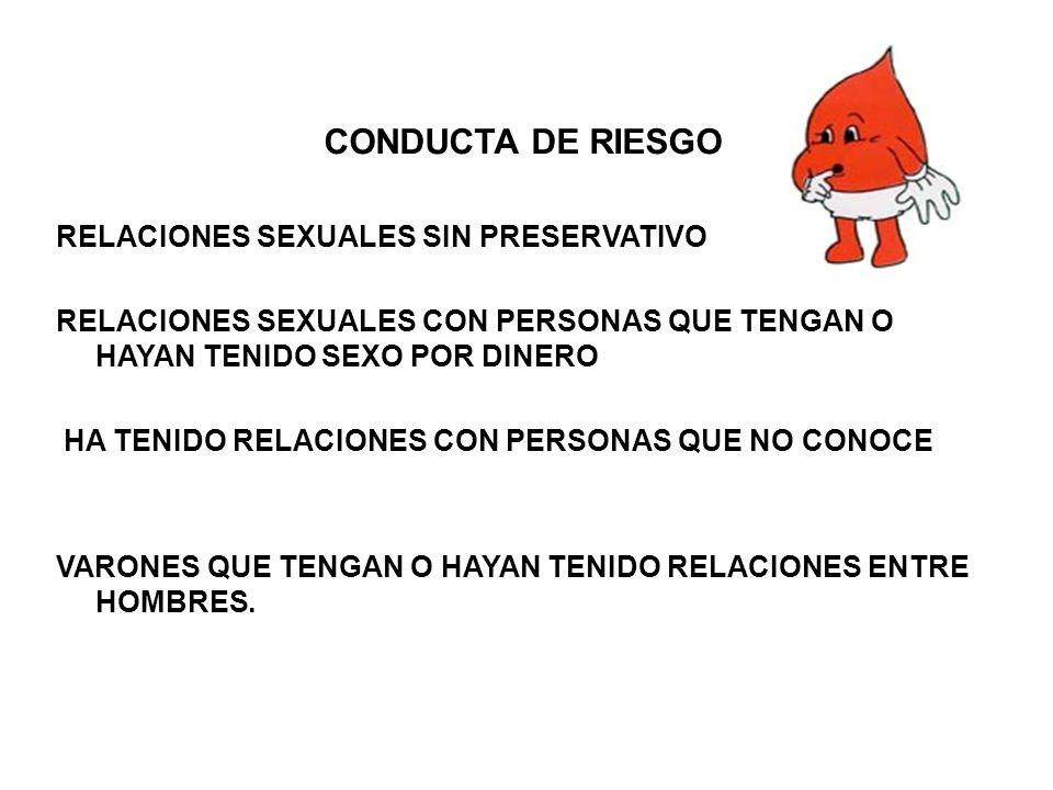 CONDUCTA DE RIESGO RELACIONES SEXUALES SIN PRESERVATIVO RELACIONES SEXUALES CON PERSONAS QUE TENGAN O HAYAN TENIDO SEXO POR DINERO HA TENIDO RELACIONE