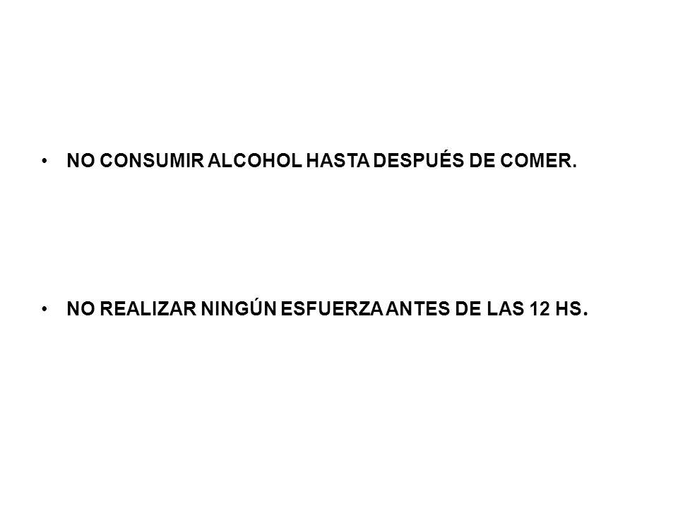 NO CONSUMIR ALCOHOL HASTA DESPUÉS DE COMER. NO REALIZAR NINGÚN ESFUERZA ANTES DE LAS 12 HS.