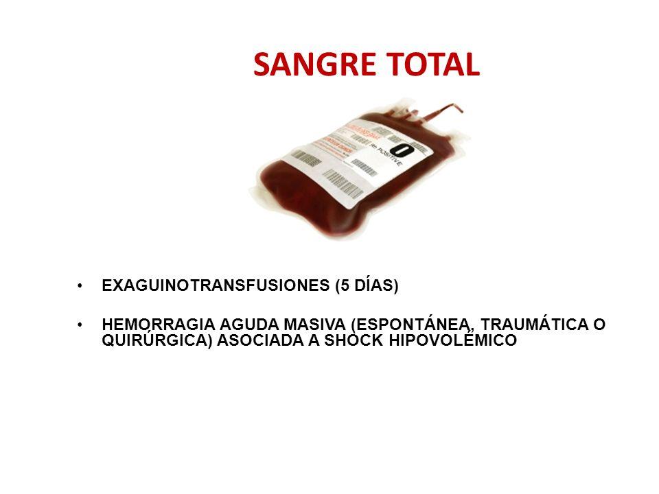 SANGRE TOTAL EXAGUINOTRANSFUSIONES (5 DÍAS) HEMORRAGIA AGUDA MASIVA (ESPONTÁNEA, TRAUMÁTICA O QUIRÚRGICA) ASOCIADA A SHOCK HIPOVOLÉMICO