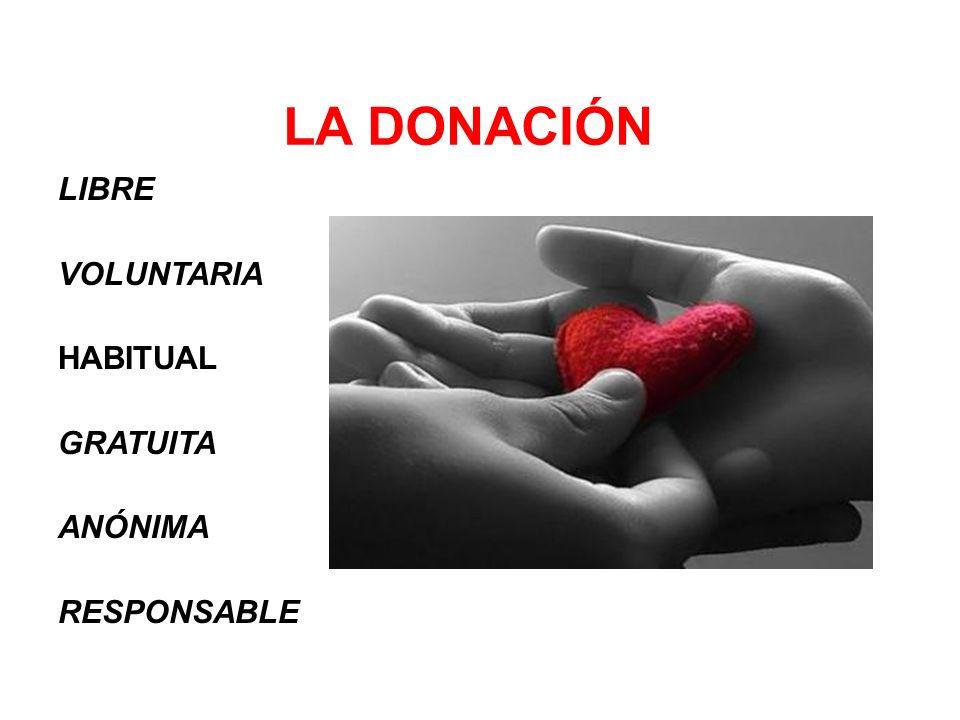 LIBRE VOLUNTARIA HABITUAL GRATUITA ANÓNIMA RESPONSABLE LA DONACIÓN