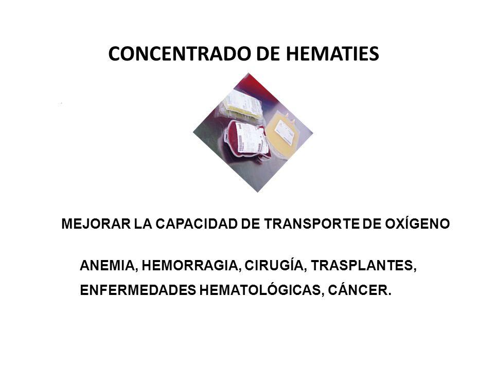 MEJORAR LA CAPACIDAD DE TRANSPORTE DE OXÍGENO ANEMIA, HEMORRAGIA, CIRUGÍA, TRASPLANTES, ENFERMEDADES HEMATOLÓGICAS, CÁNCER.. CONCENTRADO DE HEMATIES