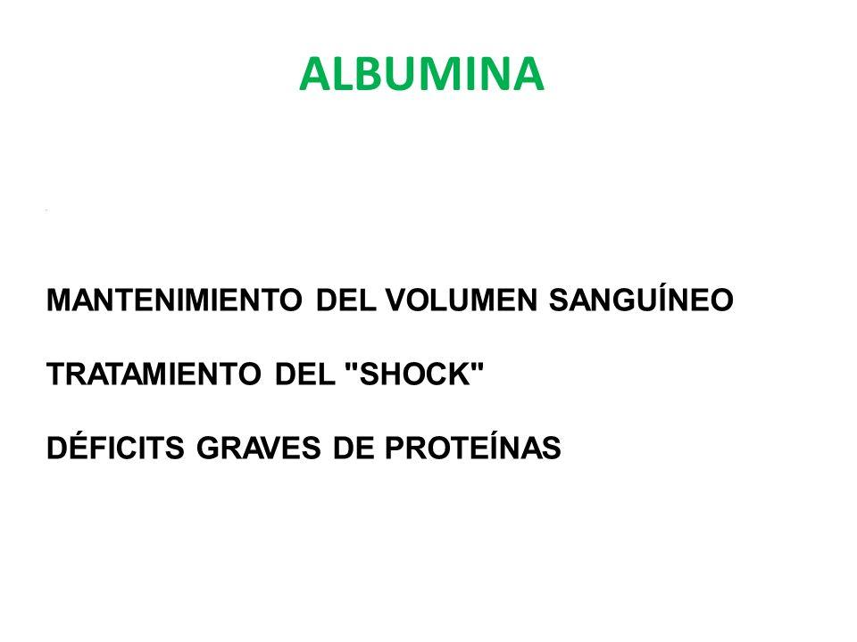 ALBUMINA. MANTENIMIENTO DEL VOLUMEN SANGUÍNEO TRATAMIENTO DEL