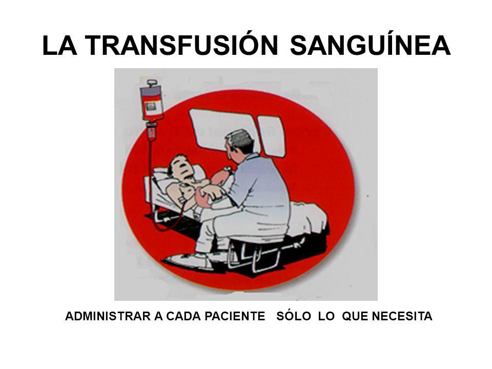 LA TRANSFUSIÓN SANGUÍNEA ADMINISTRAR A CADA PACIENTE SÓLO LO QUE NECESITA