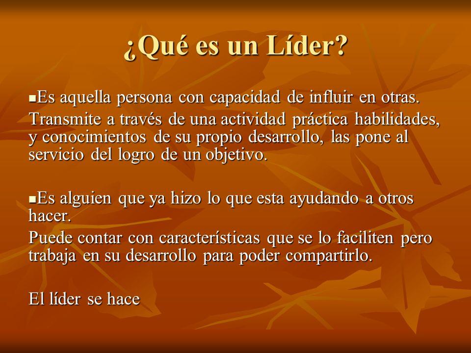 ¿Qué es un Líder? Es aquella persona con capacidad de influir en otras. Es aquella persona con capacidad de influir en otras. Transmite a través de un