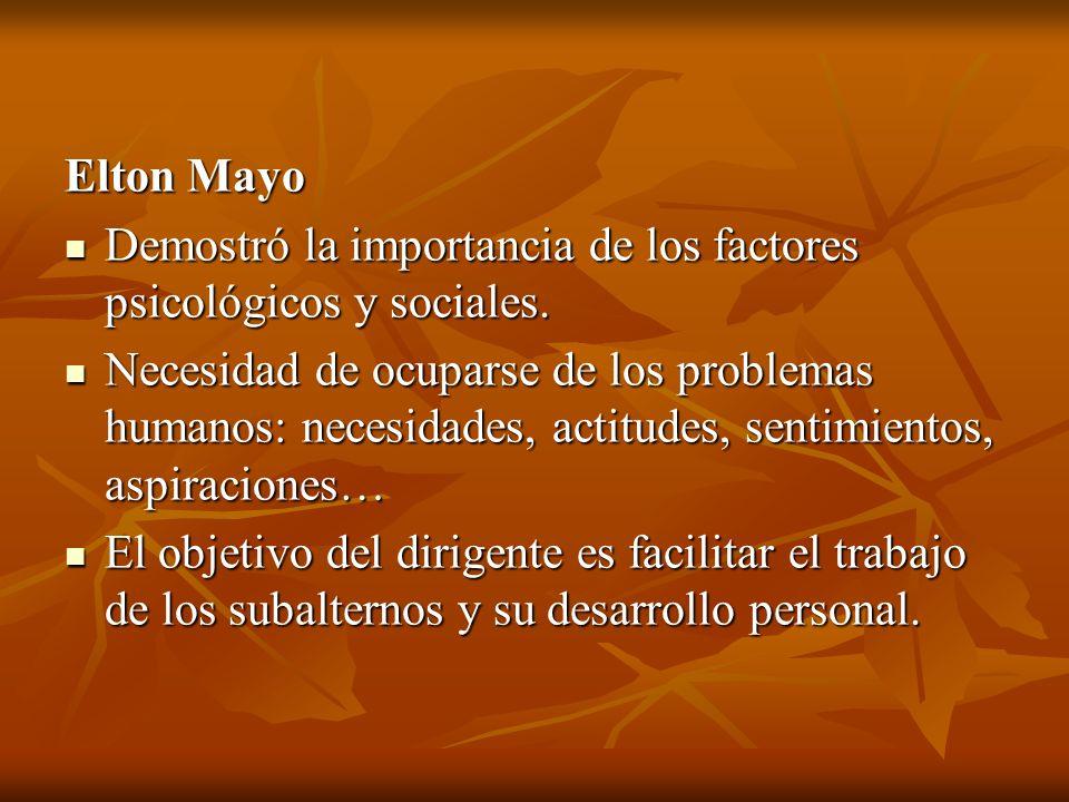 Elton Mayo Demostró la importancia de los factores psicológicos y sociales.