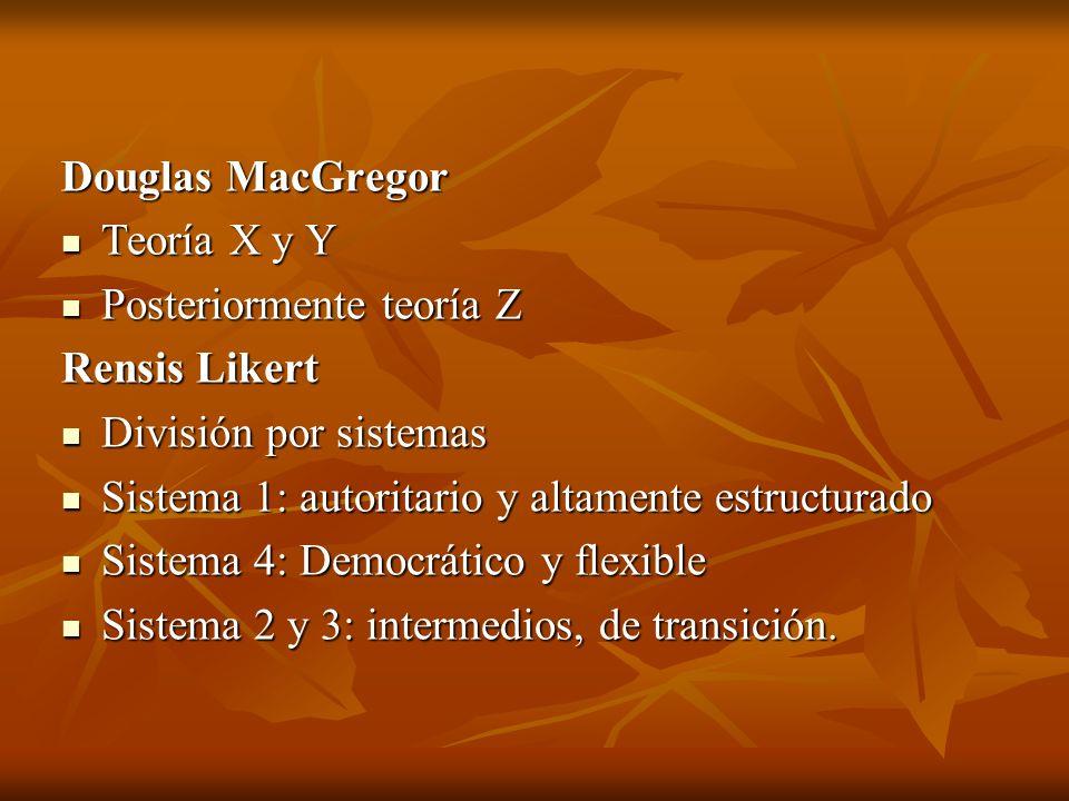 Douglas MacGregor Teoría X y Y Teoría X y Y Posteriormente teoría Z Posteriormente teoría Z Rensis Likert División por sistemas División por sistemas Sistema 1: autoritario y altamente estructurado Sistema 1: autoritario y altamente estructurado Sistema 4: Democrático y flexible Sistema 4: Democrático y flexible Sistema 2 y 3: intermedios, de transición.