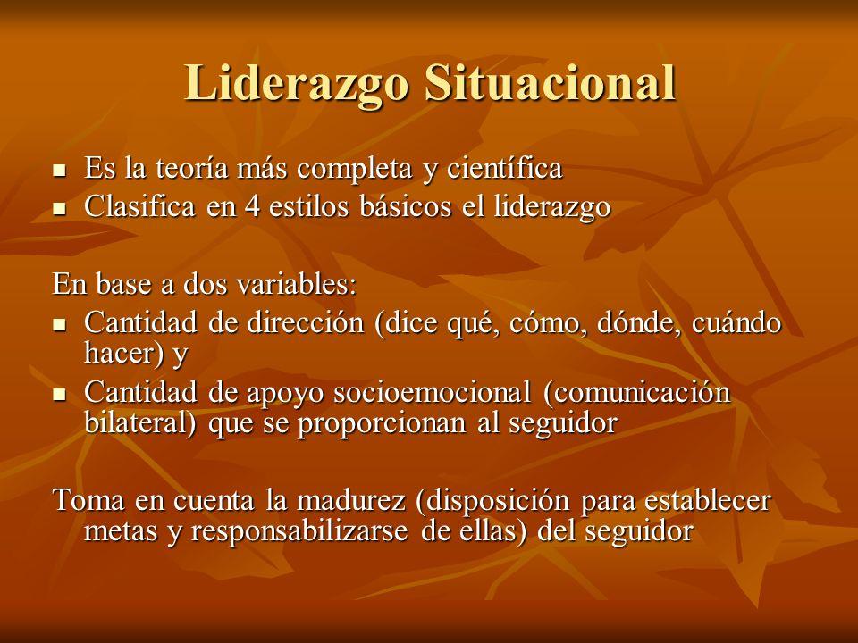 Liderazgo Situacional Es la teoría más completa y científica Es la teoría más completa y científica Clasifica en 4 estilos básicos el liderazgo Clasifica en 4 estilos básicos el liderazgo En base a dos variables: Cantidad de dirección (dice qué, cómo, dónde, cuándo hacer) y Cantidad de dirección (dice qué, cómo, dónde, cuándo hacer) y Cantidad de apoyo socioemocional (comunicación bilateral) que se proporcionan al seguidor Cantidad de apoyo socioemocional (comunicación bilateral) que se proporcionan al seguidor Toma en cuenta la madurez (disposición para establecer metas y responsabilizarse de ellas) del seguidor