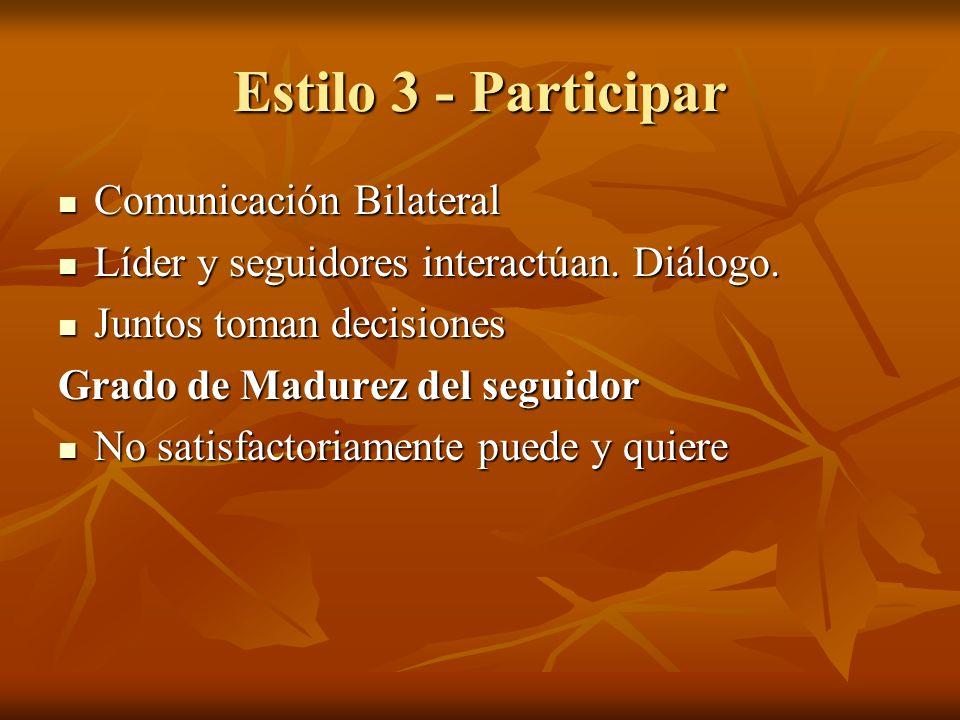 Estilo 3 - Participar Comunicación Bilateral Comunicación Bilateral Líder y seguidores interactúan. Diálogo. Líder y seguidores interactúan. Diálogo.