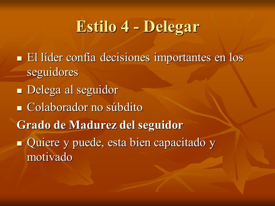 Estilo 4 - Delegar El líder confía decisiones importantes en los seguidores El líder confía decisiones importantes en los seguidores Delega al seguido